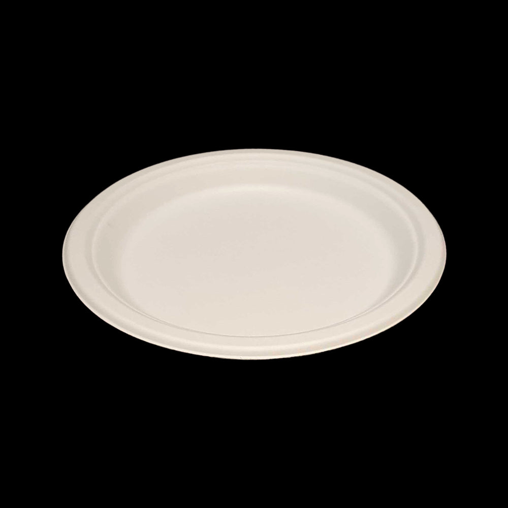 "Vie Gourmet Compostable Round Bagasse Plate 7"" White - 50 pcs"