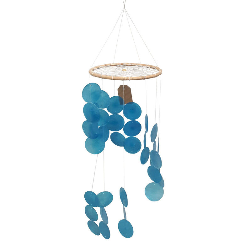 Vie Naturals Capiz Shell Wind Chime, 45cm Hanging Height, Blue