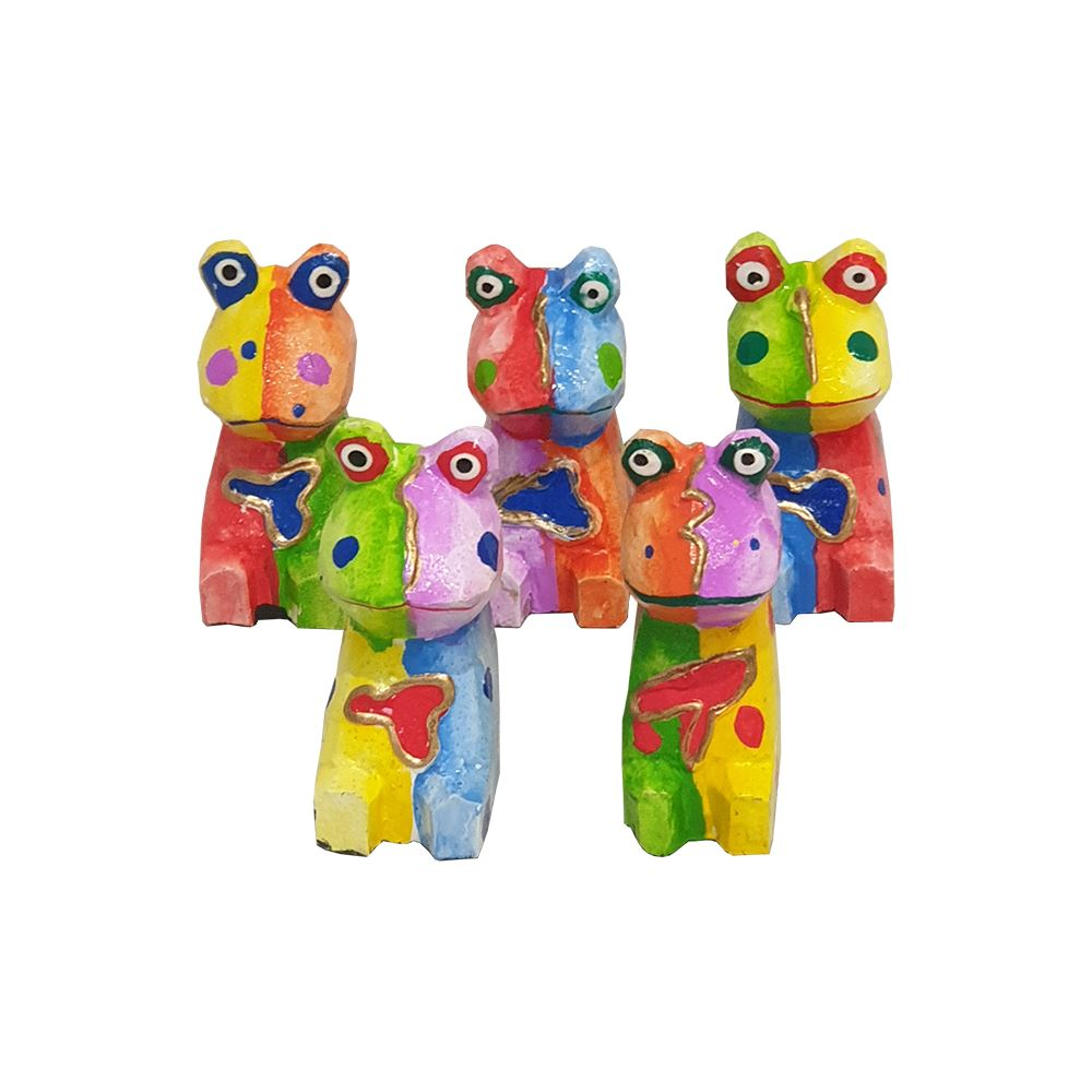 Vie Naturals Abstract Frog Carving, Painted - Set of 5, 10 cm