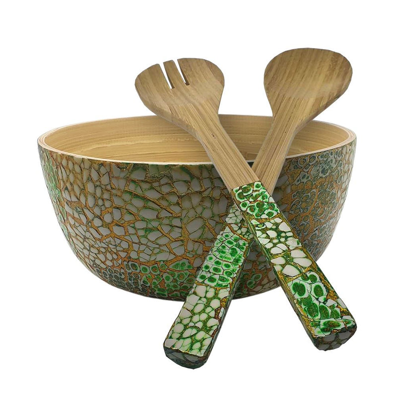 Vie Gourmet Bamboo Salad Bowl, 23x10cm, Light Green, with Matching Salad Servers