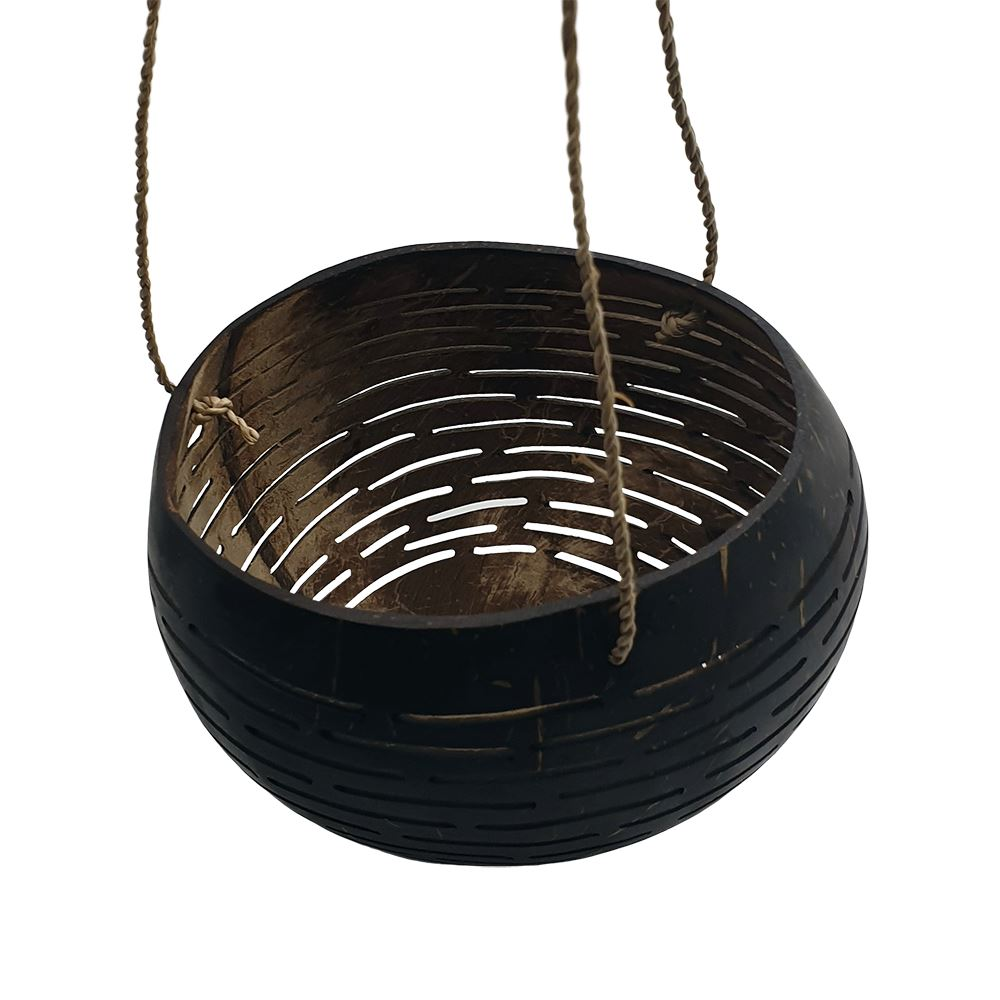 Vie Naturals Carved Hanging Coconut Shell with a Sturdy Jute Rope, 13-15cm