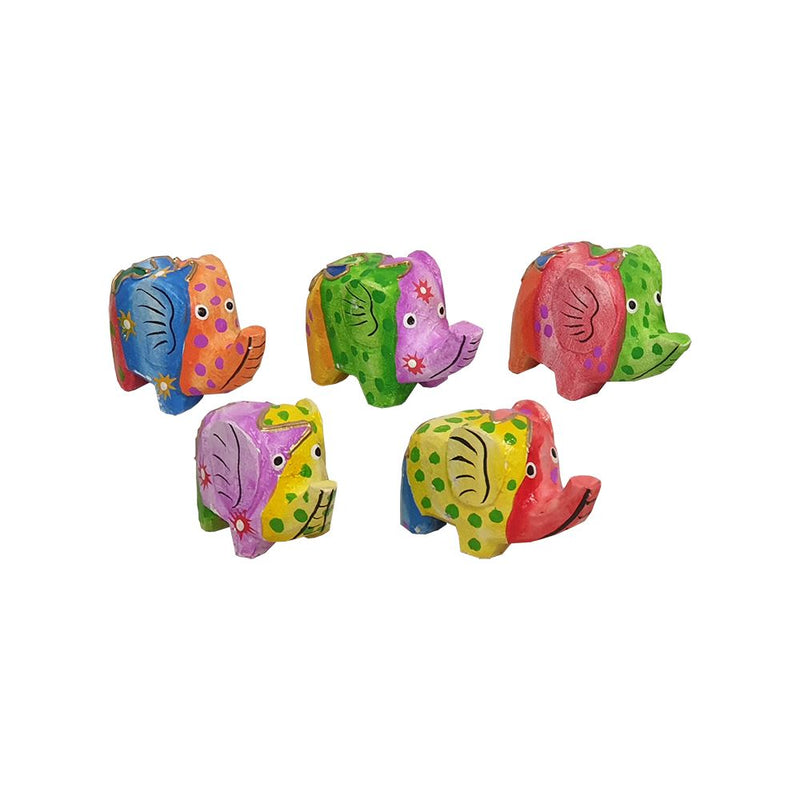 Vie Naturals Abstract Elephant Carving, Painted - Set of 5, 10 cm