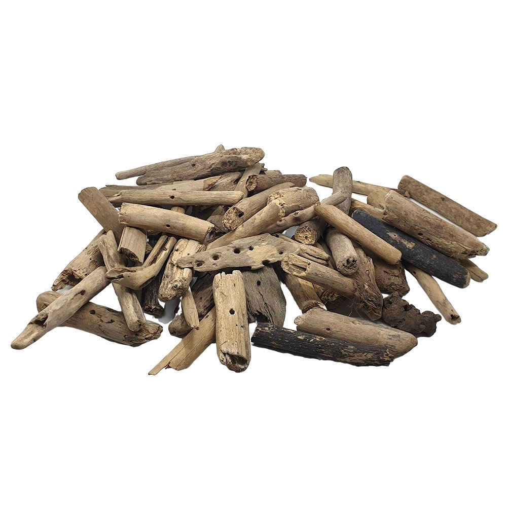 Vie Naturals Indonesian Driftwood Pieces 8-17cm, Drilled with a Small Hole, Approx. 50-60 pcs