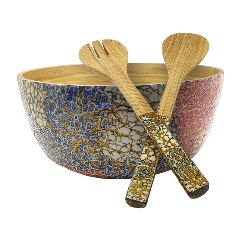 Vie Gourmet Bamboo Salad Bowl, 23x10cm, Blue/Pink, with Matching Salad Servers