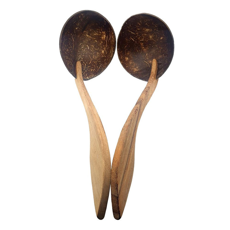 Vie Gourmet Sono Wood & Coconut Shell Ladle 30 cm Set Of 2