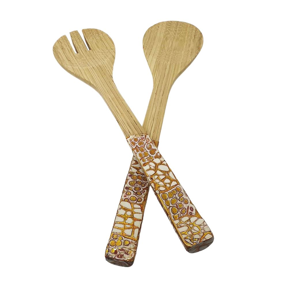 Vie Gourmet Bamboo Salad Servers, Gold by  Global 1st