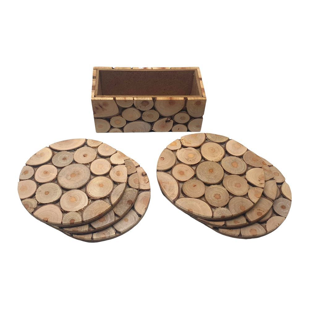 Vie Naturals Handmade Sliced Wood Coaster Set with Holder, Set of 6, 10cm, Round