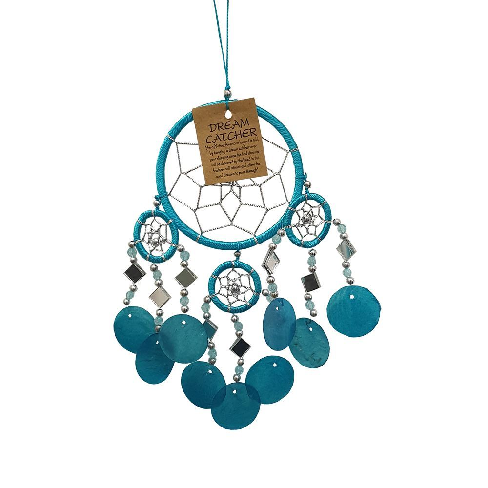 Vie Naturals Capiz Dream Catcher, No Feathers, 9cm, Turquoise, Home & Garden by Global 1st