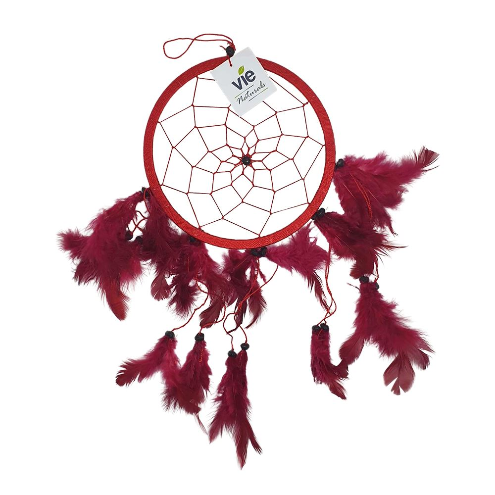 Vie Naturals Dream Catcher with Beads, 16cm Ring, Red