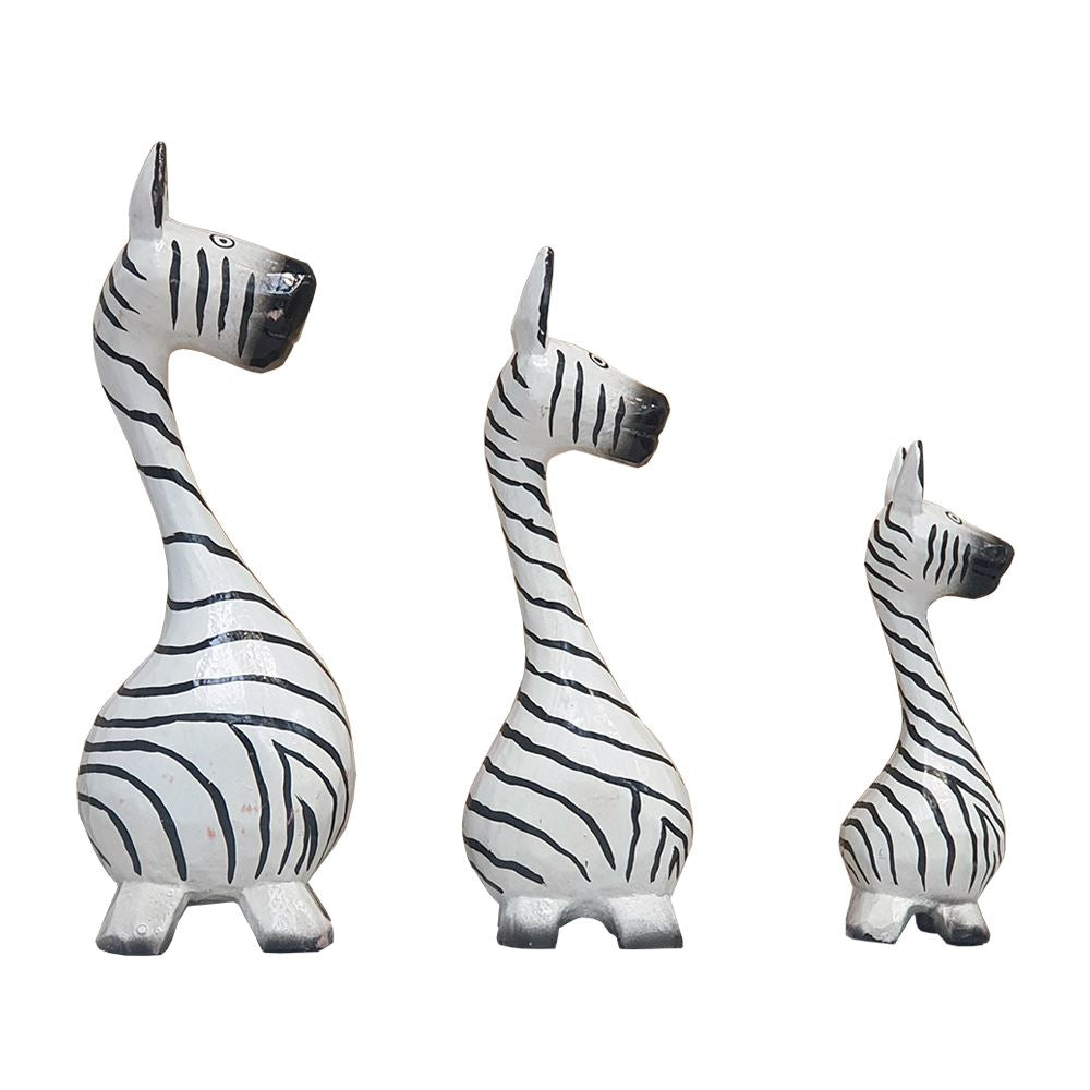 Vie Naturals Abstract Zebra Carving, Painted - Set of 3, 20/18/15 cm