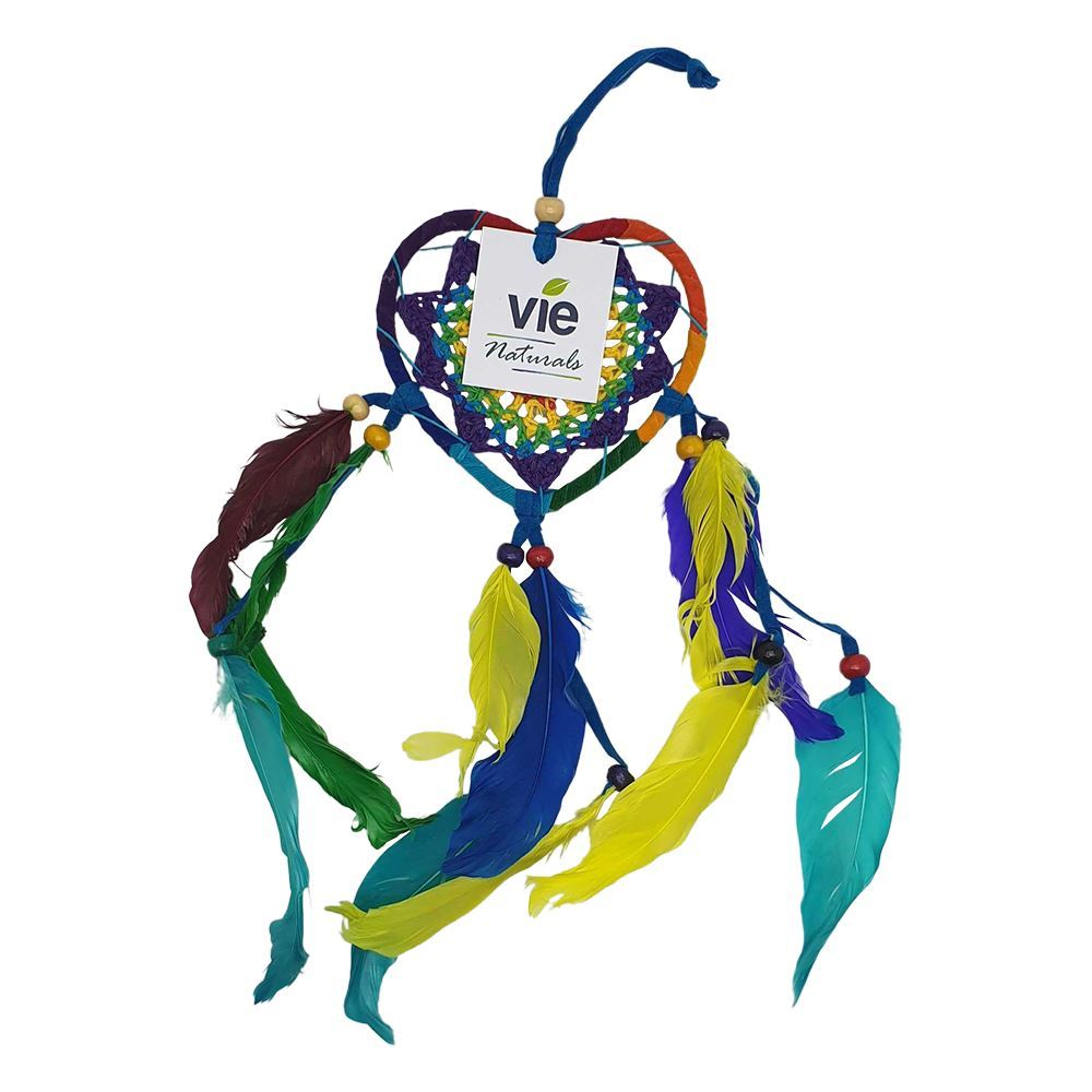 Vie Naturals Heart Shaped Dream Catcher, 9cm, Rainbow
