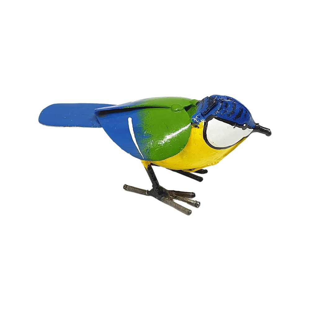 Vie Naturals Small Recycled Metal Bird Sculpture, Bluetit 11cm