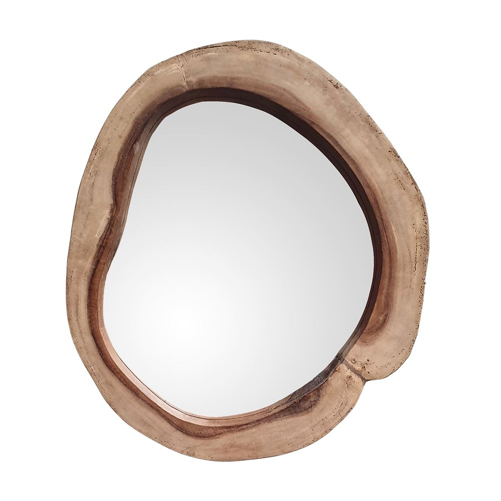 Vie Naturals Rustic Framed Mirror, Natural Wood Frame, Tree Trunk Shape, Cosmetic Tools by Global 1st