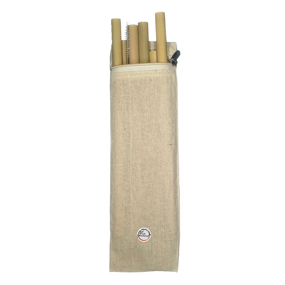 Vie Gourmet Bamboo Drinking Straws, Set of 6, with Cleaning Brush & Zipper Bag, Drinking Straws & Stirrers by Global 1st