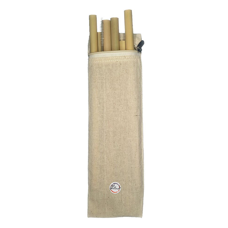 Vie Gourmet Bamboo Drinking Straws, Set of 6, with Cleaning Brush & Zipper Bag