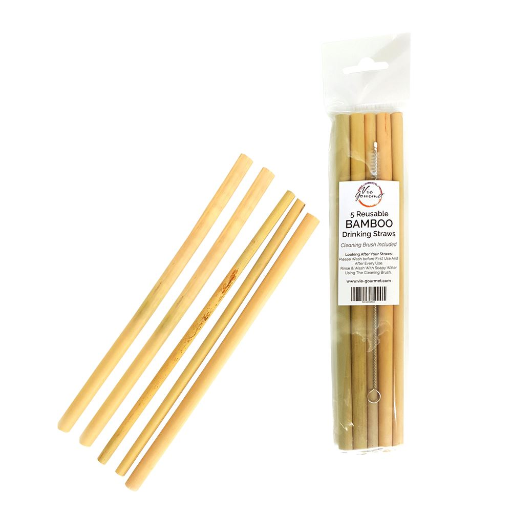 Vie Gourmet Bamboo Drinking Straws, Set of 5, with a Cleaning Brush