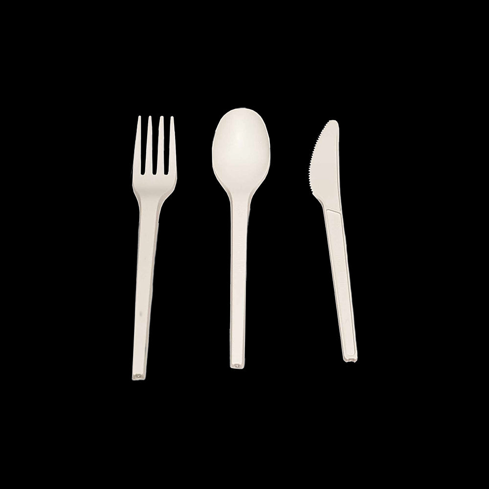 Vie Gourmet Compostable/Biodegradable Durable Disposable Cutlery 50 Set Made from Cornstarch (50 Forks 50 Spoons 50 Knives), Food Service by Global 1st