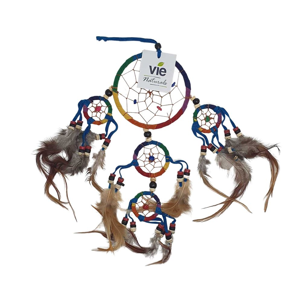Vie Naturals Dream Catcher, 9cm, Beaded, 4 Smaller Rings, Rainbow