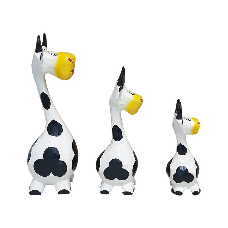Vie Naturals Abstract Cow Carving, Painted - Set of 3, 20/18/15 cm