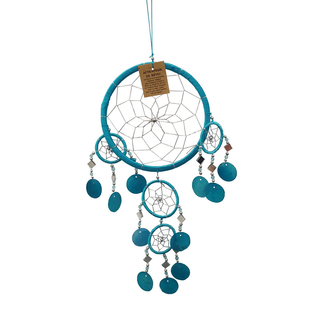 Vie Naturals Capiz Dream Catcher, No Feathers, 16cm, Turquoise
