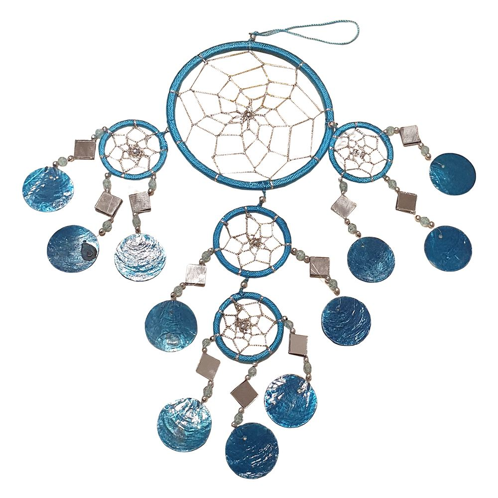 VIE Naturals Capiz Dream Catcher, No Feathers, 12cm, Blue