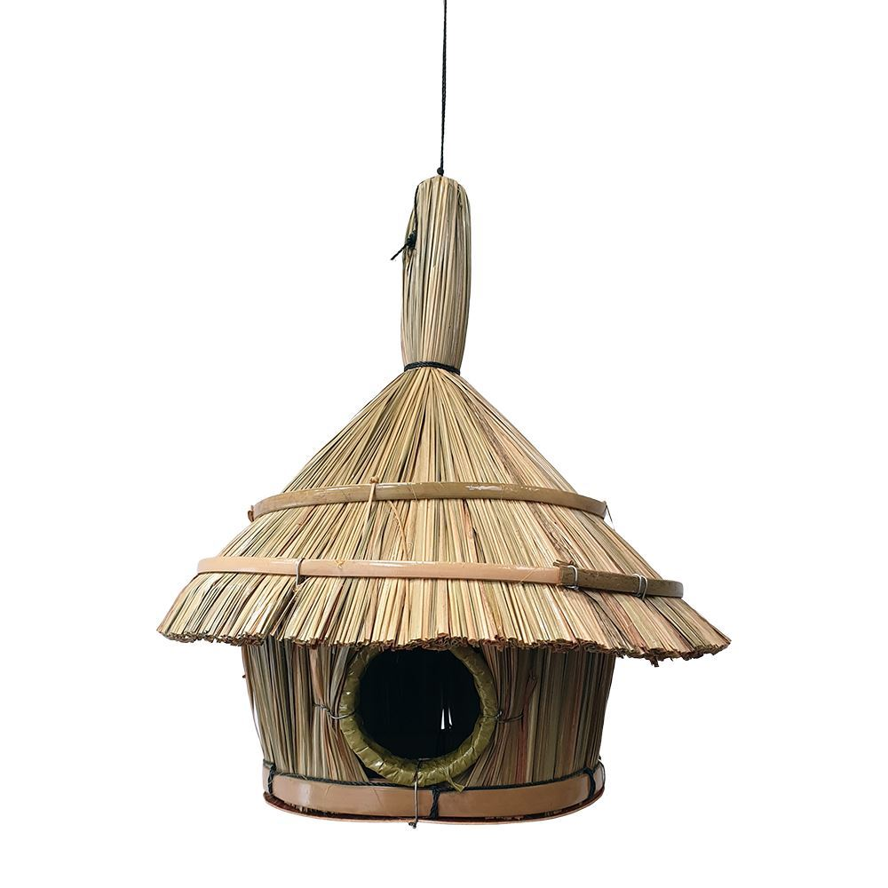Vie Naturals Bird House, Straw, Approx 30cm Hanging Height