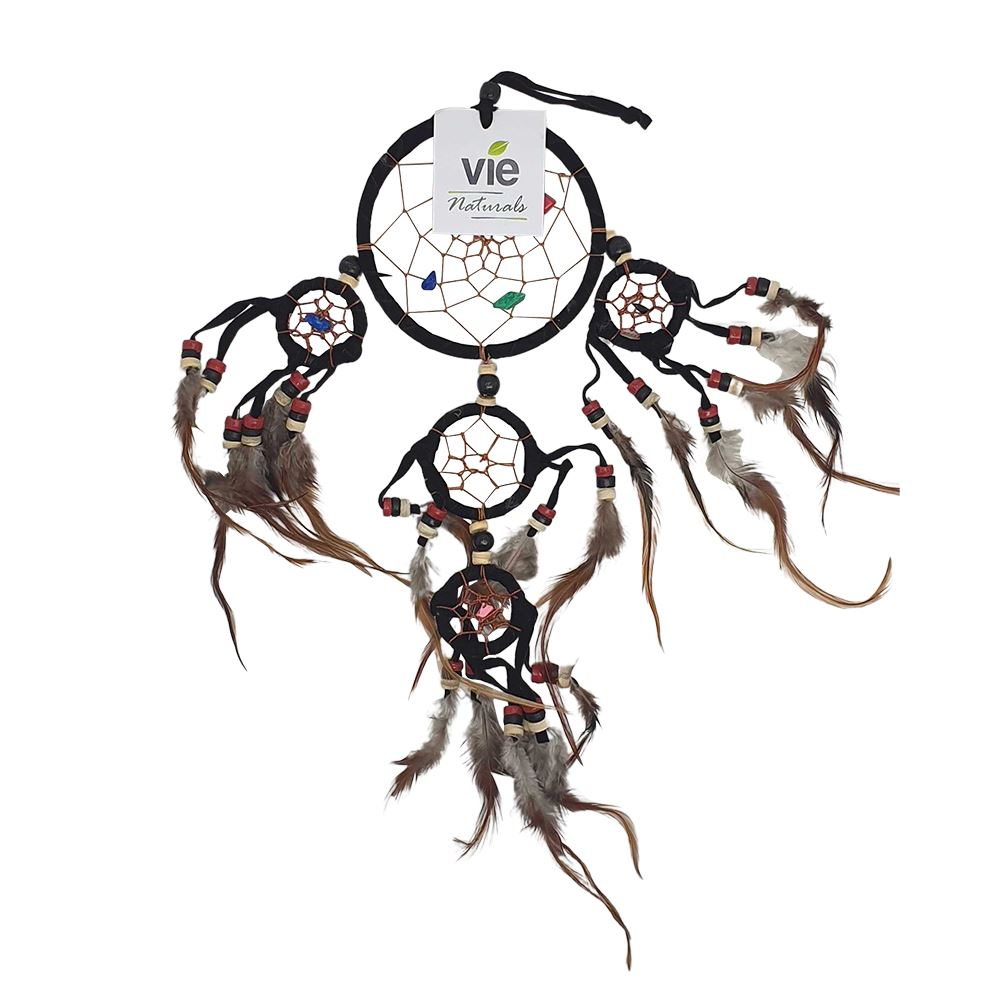 Vie Naturals Dream Catcher with Beads, 9cm Ring with 4 Smaller Rings, Black