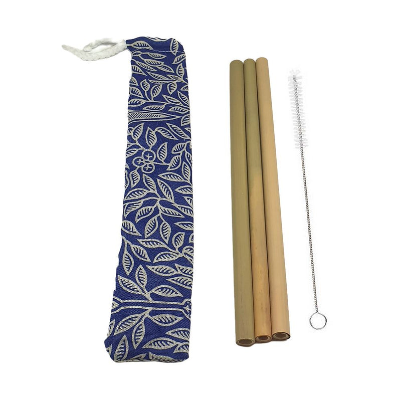 Vie Gourmet Bamboo Drinking Straws, 22cm, Set of 3 in a Batik Pouch, Includes a Cleaning Brush