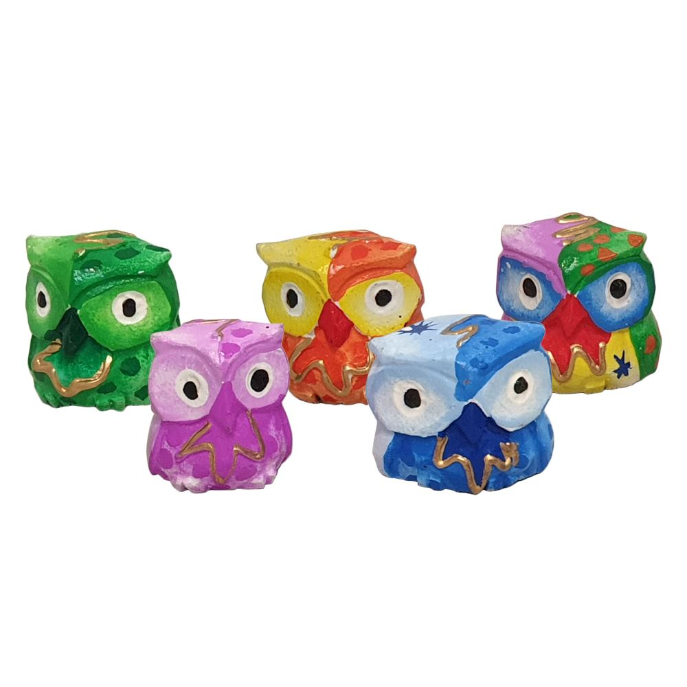 Vie Naturals Abstract Owl Carving, Painted - Set of 5, 10 cm