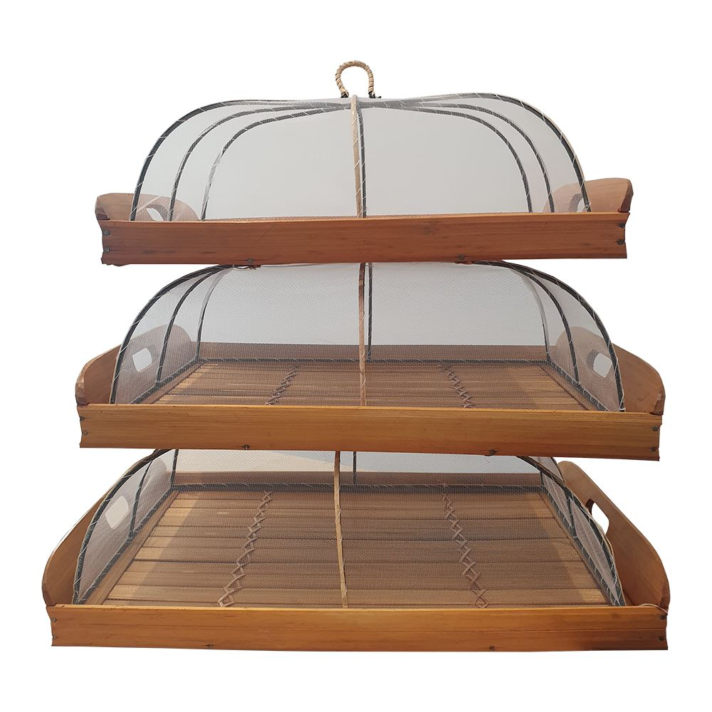 Vie Gourmet Bamboo Food Keeper Trays, Set of 3