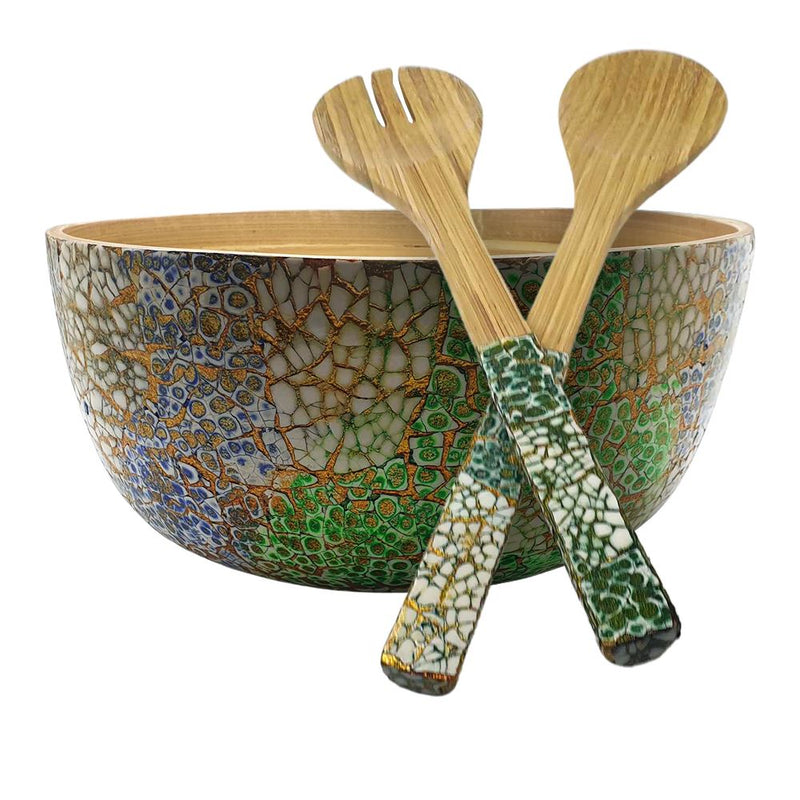 Vie Gourmet Bamboo Salad Bowl, 23x10cm, Green, with Matching Salad Servers