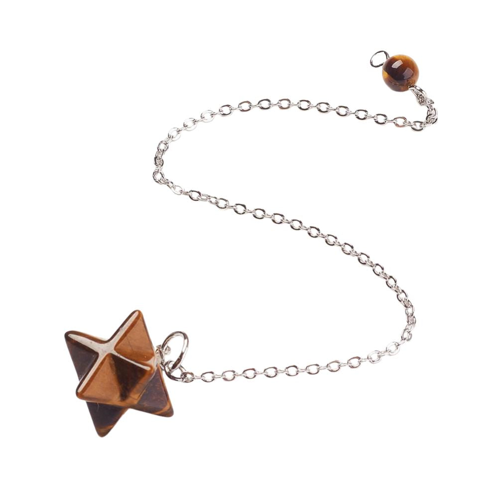 Vie Naturals Chakra Jewelry, Merkaba Star Pendulum, Tiger Eye with Brass Chains
