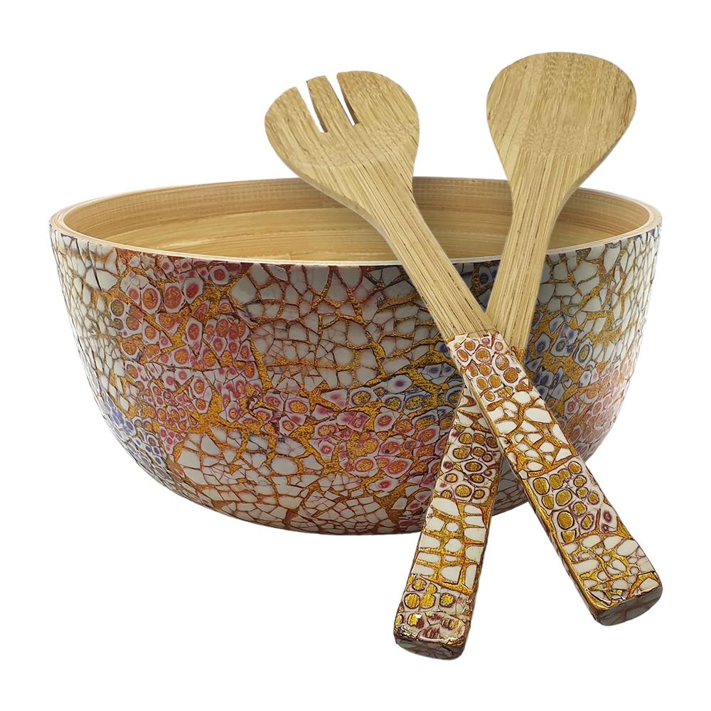 Vie Gourmet Bamboo Salad Bowl, 23x10cm, Red, with Matching Salad Servers