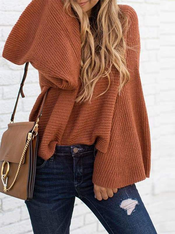 Valuedshoes Flare Sleeves Caramel Sweaters