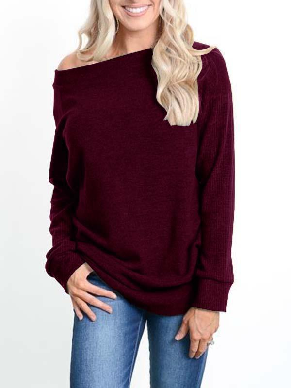 Valuedshoes Cold Shoulder Long Sleeve Pullover