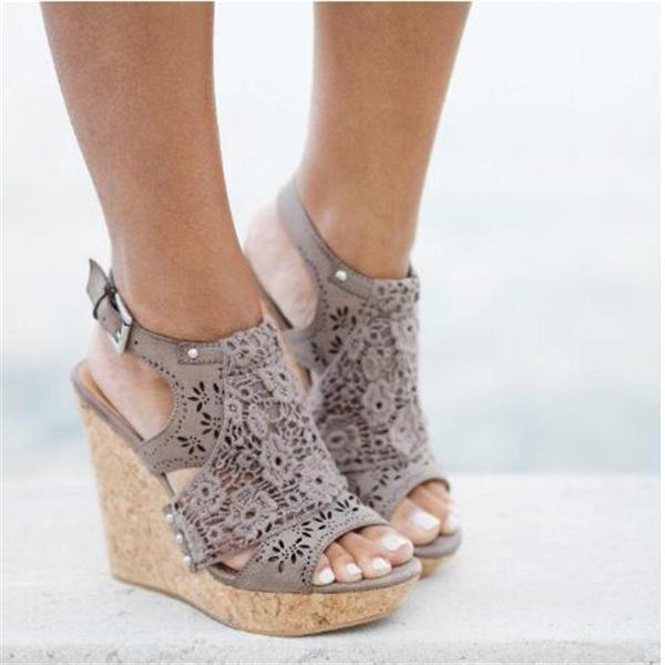 Valuedshoes Candace Taupe Wedges