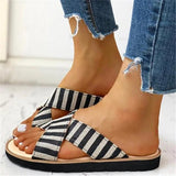 Valuedshoes Crisscross Design Striped Flat Sandals
