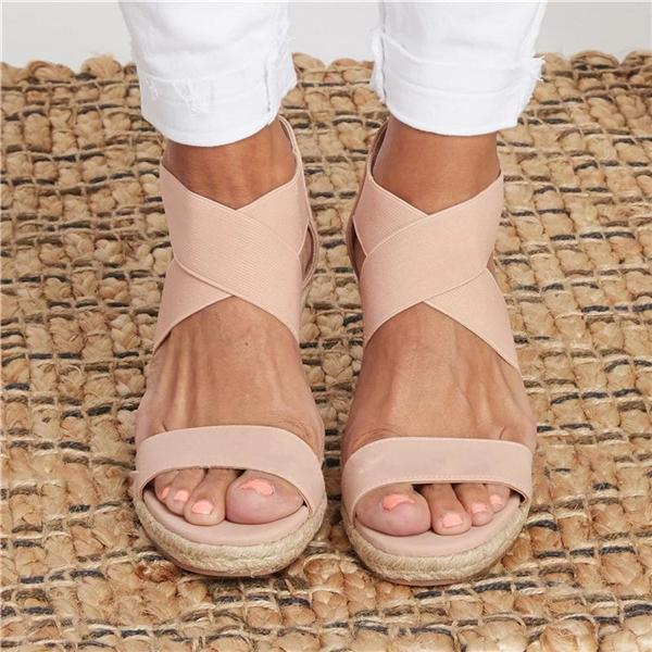 Valuedshoes Summer Round Toe High Heel Wedge Casual Ladies Sandals