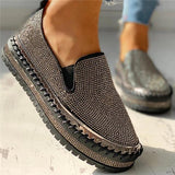 Valuedshoes Women Casual Fashion Rhinestone Slip-on Loafers/ Sneakers
