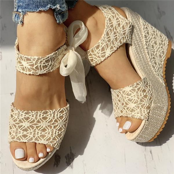Valuedshoes Bowknot Design Platform Espadrille Wedge Sandals