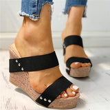 Valuedshoes Rivet Detail Platform Wedge Sandals