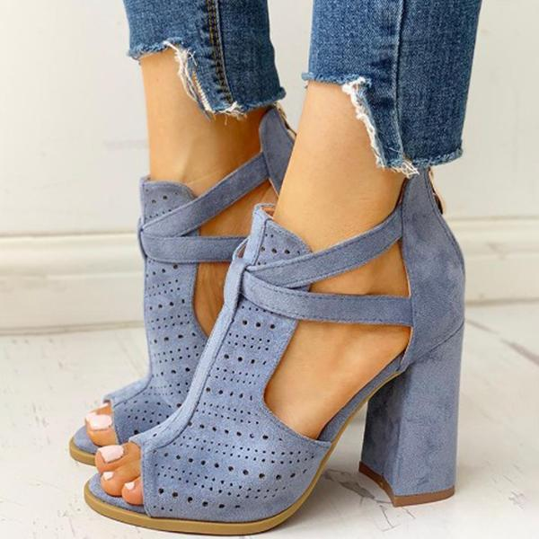 Valuedshoes Peep Toe Hollow Out Chunky Heels Sandals