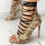 Valuedshoes Open Toed Lace-Up Thin Heeled Sandals