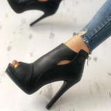 Valuedshoes Fashion Peep Toe Cutout Thin Heels Sandals