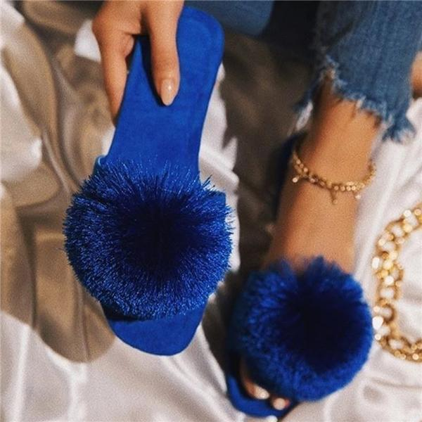 Valuedshoes Slip-On Flat With Flip Flop Pompon Slippers