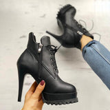 Valuedshoes Solid Lace-Up Eyelet Platform Thin Heeled Boots