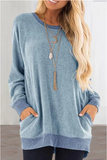 Valuedshoes Round Neck Pocket Blue Sweatshirt
