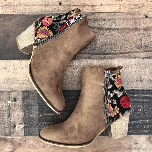 Valuedshoes Vintage Embroidered Chunky Heel Booties