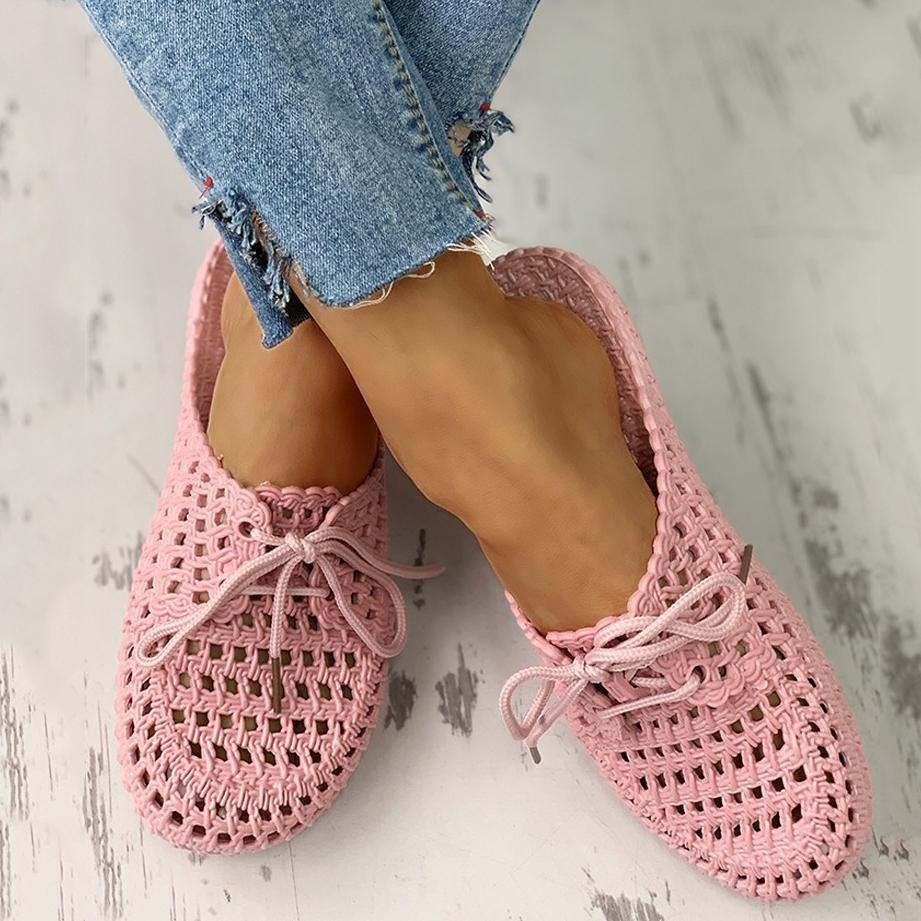 Valuedshoes Hollow Out Lace-Up Slipper For Women