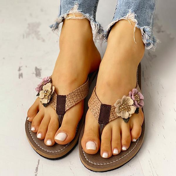 Valuedshoes Flower Design Flat Sandals